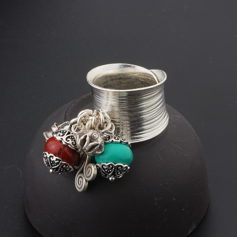 handmade silvery tassel ring to the ancient and exaggerated fashion S925 pure silver wide face opening ring цена