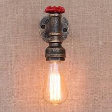 E27 Steampunk Loft Industrial tubería de agua de hierro estilo oxidado lámpara de pared retro Vintage apliques de luces para sala dormitorio restaurante bar