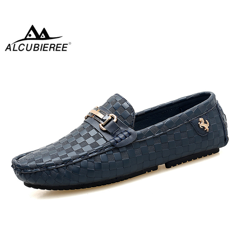 ALCUBIEREE Brand Mens Embossed Leather Moccasins For Men High Quality Slip On Flats Loafers Fashion Buckle Style Driving Shoes