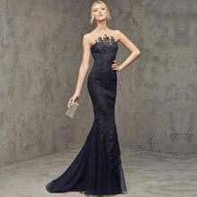 Klassische Schwarz Tulle Lange Volles Kleid Vestido de Festa 2016 Appliques Nixe Abendkleider Besondere Anlässe Formale Kleid