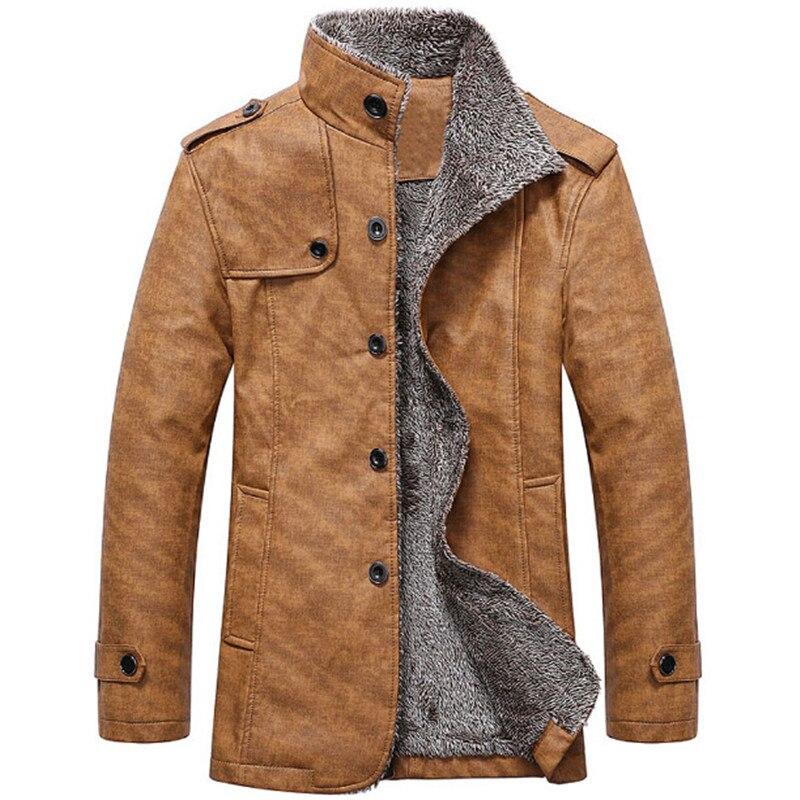 2017 hiver mâle fourrure col montant épaississement et laine coupe-vent imperméable en cuir vestes en cuir manteau hommes