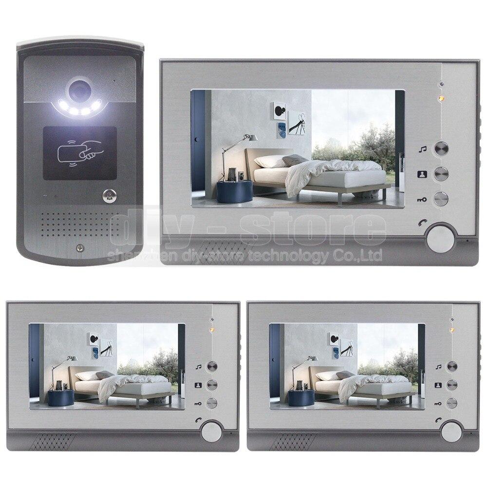 DIYSECUR LCD Display Video Door Phone Enter Intercom Doorbell Card Key RFID Reader LED Night Vision Camera 1 Camera 3 Monitor free shipping 2 3 month 1000g comfortable 100