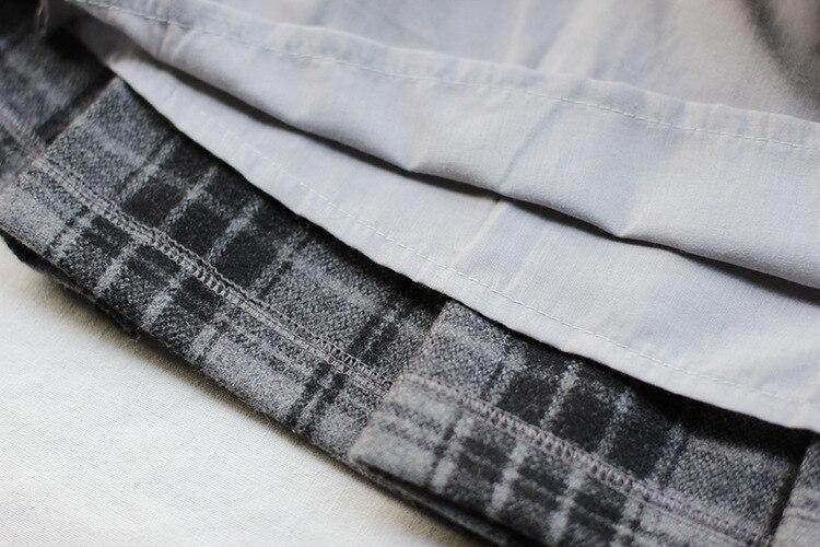 Black Devil Serie frauen Plaid Prüft Wollmischung Mini Faltenrock für Winter Farbe Grau Gute Qaulity