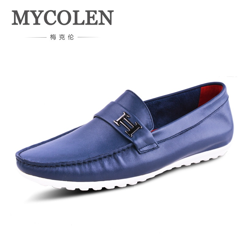 MYCOLEN Men's Flats Casual Comfortable Breathable Driving Shoes Men's Leather Loafers For Men Shoes Moccasins Mens Footwear branded men s penny loafes casual men s full grain leather emboss crocodile boat shoes slip on breathable moccasin driving shoes