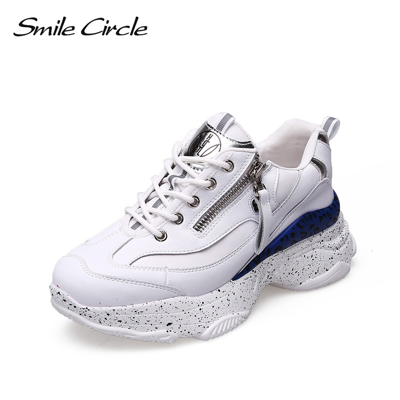 Smile Circle 2019 spring Sneakers Women Lace up Flat Shoes Women Comfortable Breathable Platform Sneakers casual