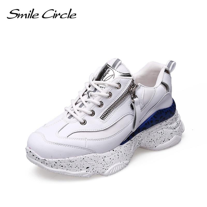 Sourire Circle 2019 printemps baskets femmes à lacets chaussures plates femmes confortable respirant plate-forme baskets chaussures décontractées