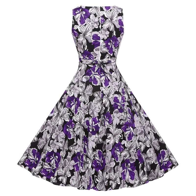 Kostlish Cotton Summer Dress Women 2017 Sleeveless Tunic 50s Vintage Dress Belt Elegant Print Rockabilly Party Dresses Sundress (84)
