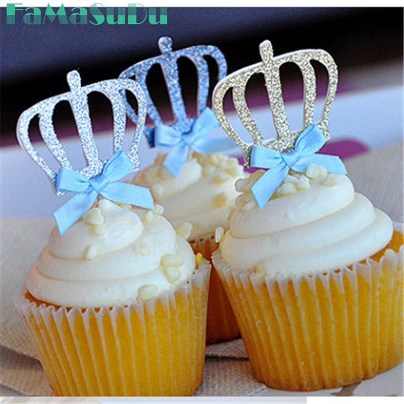 10pcs Custom Bow Color&Gold/Silver Blue Glitter Crown Cupcake Toppers Picks Baby Shower Princess/Kids Birthday Party Decorations