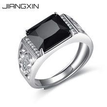 181c00f5260e JiangXin tamaño ajustable de plata esterlina 925 simulado diamante negro de  los hombres