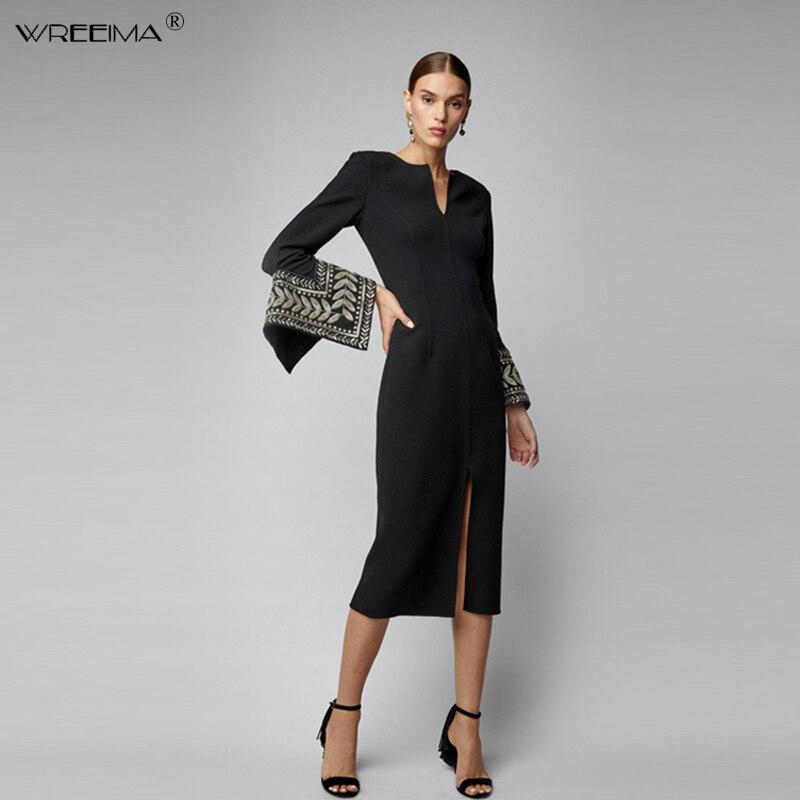 Robe de soirée élégante en coton Vintage pour femmes robe de soirée noire col en V décontracté travail bureau broderie robes 2019 printemps