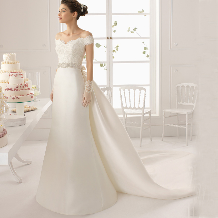 charming design top crystal luxury wedding dress detachable train bridal gown wedding dresses with v neck vestido de noiva