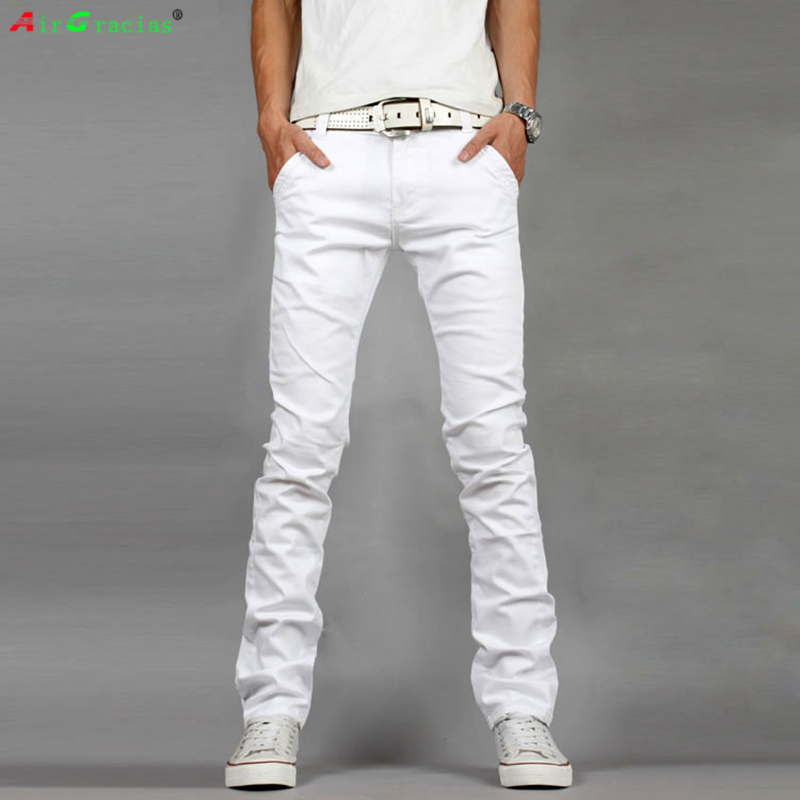 AirGracias Mens Biker Jeans Men Pants Slim Fit White Color Denim Jean Male Brand Designer Trousers Ripped Jeans For Men 2017 fashion patch jeans men slim straight denim jeans ripped trousers new famous brand biker jeans logo mens zipper jeans 604