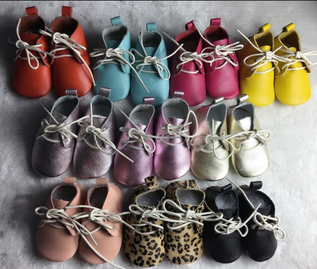 2017 New style Genuine Leather Baby Moccasins Shoes leopard Baby oxford shoes lace up Newborn first walker Infant baby Shoes