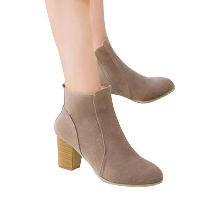 Cổ Điển Mới Nữ Mắt Cá Chân Giày Mùa Đông Nữ Nữ Mùa Thu Giày Giày Đế Vuông Da Lộn Tẩy Tế Bào Chết Ấm Nữ Femme Boot