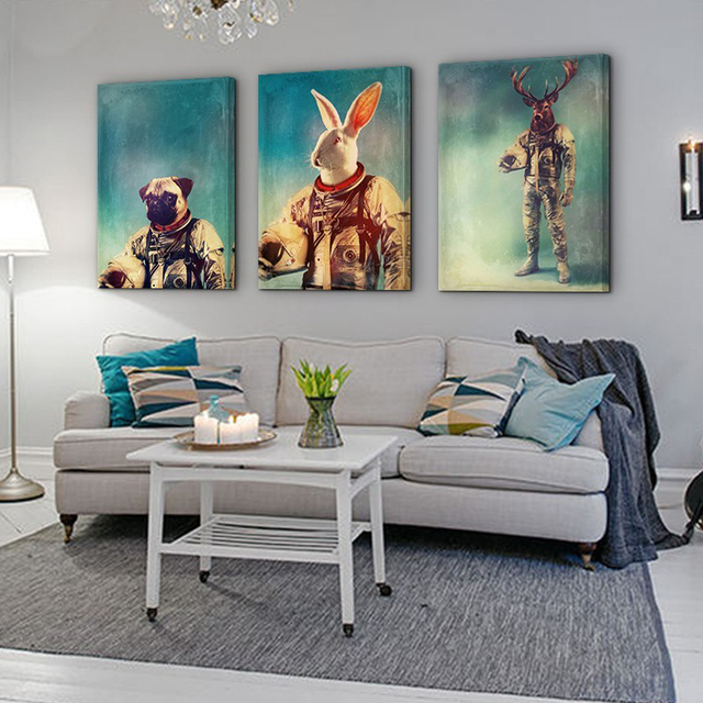 New 3 Piece Animal Astronaut Ornament Paintings and Framed for Living Room Interior  Decoration Poster Nordic
