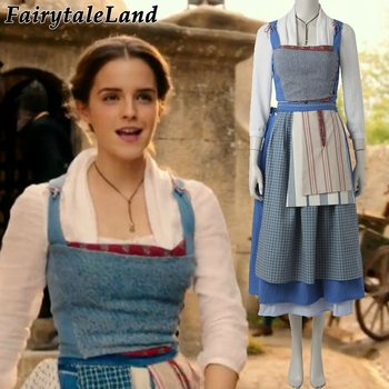 Movie Beauty and The Beast Belle cosplay costume Halloween costumes for adult Belle Village outfit Library Belle costume фото