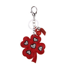 Lovely handbag fashion jewelry, key chain embedded rhinestone leather clovers llavero gifts wholesale free shipping 4 color(China)