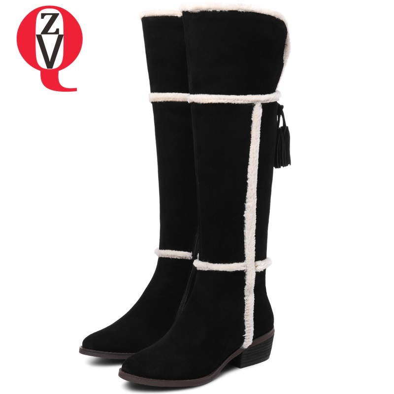 ZVQ women shoes 2018 new winter warm snow boots new fashion round toe fringe zip quare heel cow suede knee high boots size 33-43 candino c4529 3