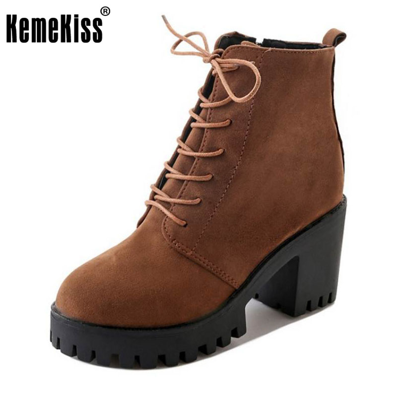 KemeKiss Women Thick High Heel Ankle Boots Women Thick Platform Cross Strap Zip Shoes Women Warm Plush Winter Botas Size 35-39 high quality motorcycle radiator grille guard cover protector for yamaha mt 09 fz 09 fj 09 mt fz fj 09 2013 2014 2015 2016