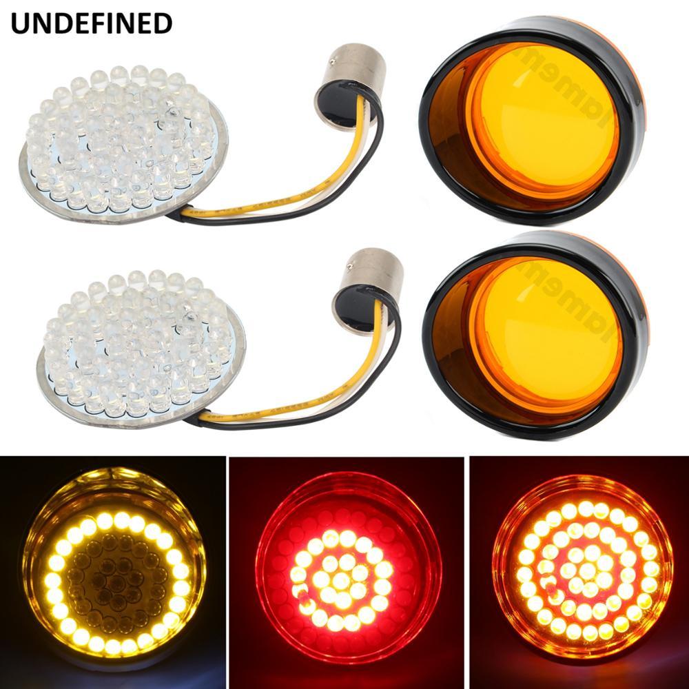 1157 Bullet LED Turn Signal Indicator Light Lamp Panel For Harley Sportster XL 1200 883 Touring Softail Dyna FLST 2011 2017 UP