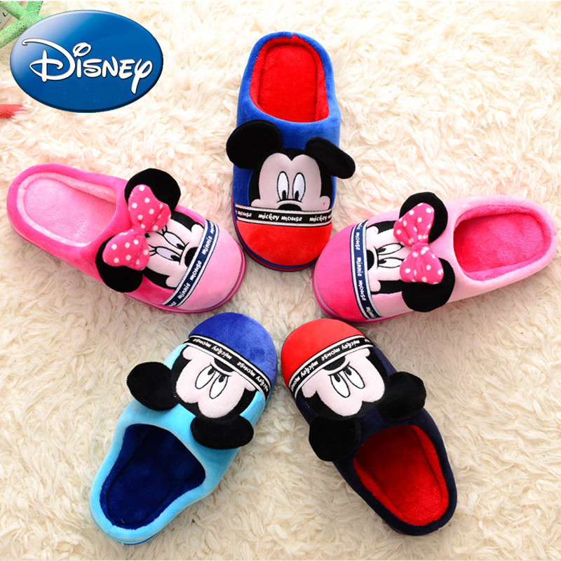 Disney Children's Mickey Cotton Slippers Kids Home Shoes Winter Cartoon Non-slip Warm Baby Girls Boys Shoes Kids Bedroom Slipper