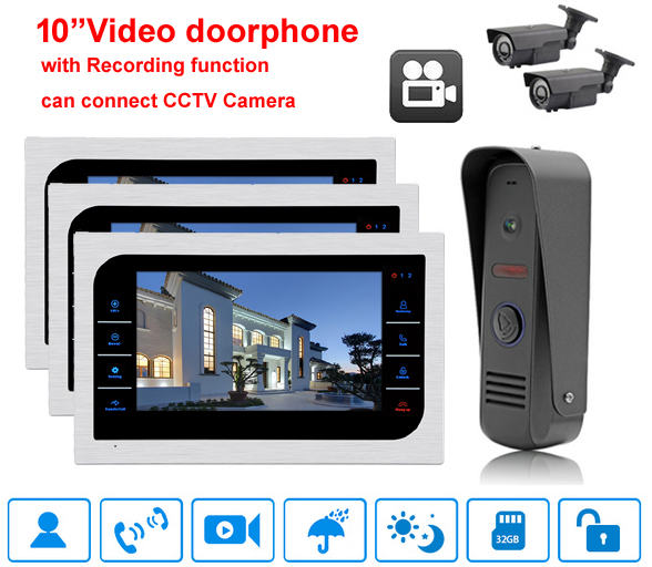 Homed system 10 Video Door Phone Intercom System Support SD Card Recording & Picture Memory Touch Key Indoor Monitor with ring