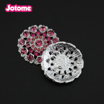 26mm Wedding Invitation Card Decoration Round Pink Crystal Rhinestone Flatblack Buttons
