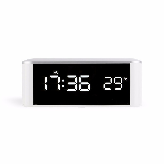 Touch Key Electric Led Hd Mirror Alarm Clock Home Digital Thermometer Modern Decor Table