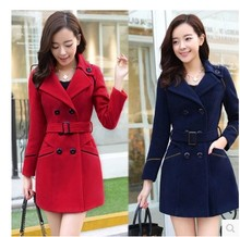 2017 Winter Women Slim Wool Coat Long Sleeve Outerwear Long Cloak Overcoat Elegant Plus Size Red Woolen Jacket