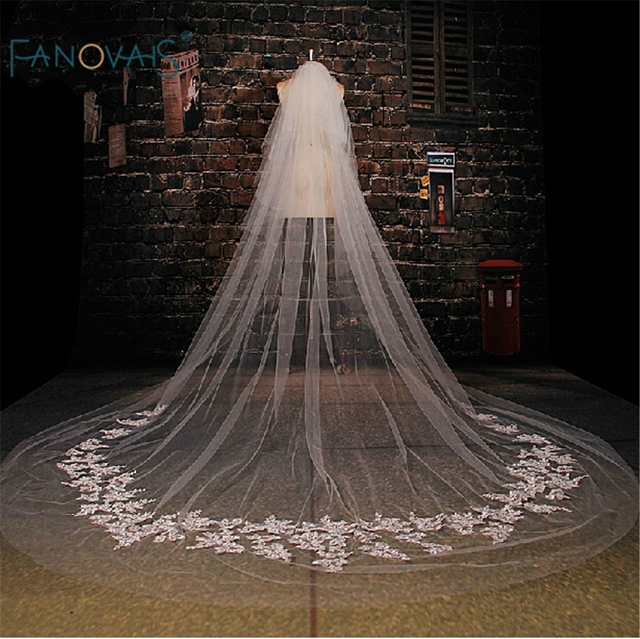Best Seller Appliqued One-Layers Bridal Veils Three Meters long voile mariage  White Wedding Veil Velos De Novia 2015 WV-1001