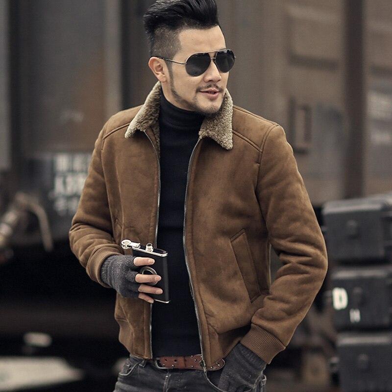 Hommes d'hiver de laine chaud mince faux manteau de fourrure à glissière veste hommes café style Européen épais casual Marque moto biker veste nouveau