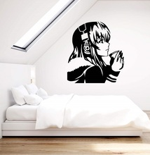 Vinyl wall applique beautiful anime girl with coffee headset youth hostel art sticker home decor mural 2YY7