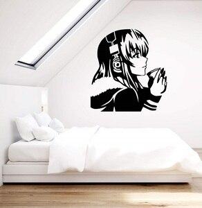 Image 1 - ויניל קיר applique יפה אנימה ילדה עם קפה אוזניות נוער אכסניה אמנות מדבקת בית תפאורה קיר 2YY7