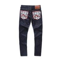 Evisu 2018 Men hipster jeans Casual Fashion Trousers Zipper Men Pockets Jeans Straight Long Classic Deep Blue Jeans For Men 6213