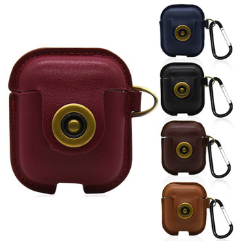 Leather Cover Skin Case With Carabiner Protective For Apple AirPods Earphones Case Protective Cover Skin Accessories for Airpods capa gucci iphone x