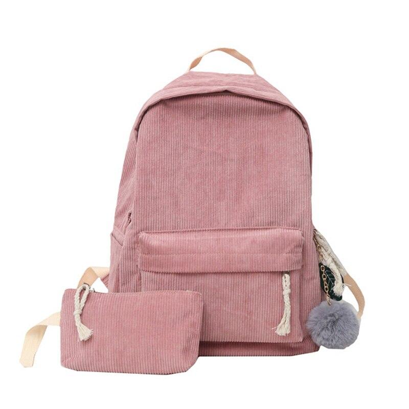 Fashion Backpacks Women Corduroy Bagpack School Bag For Teenagers Girls Soft Back Bag Soft Bag Handle Mochilas Mujer Rucksack