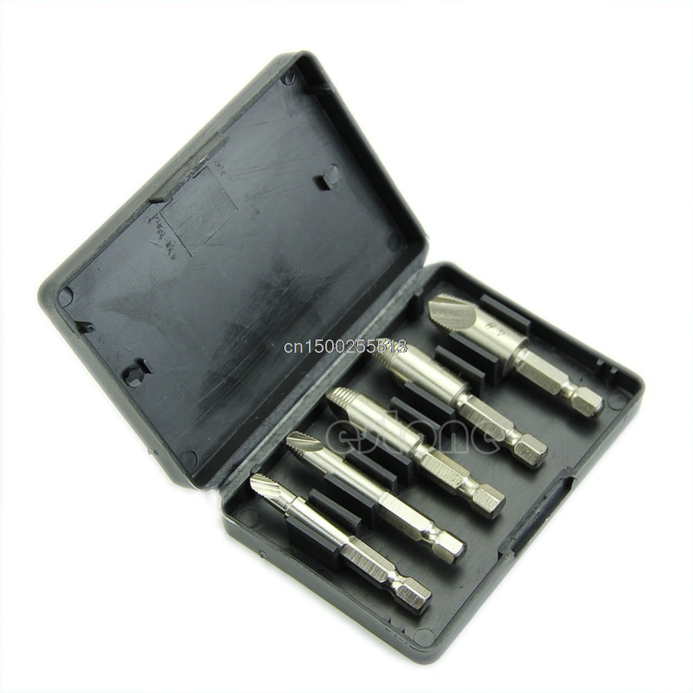 5PCS Drill Bit Screw Easy Speed Out Extractor Remover Drill Tool Set Hex Shank & Case