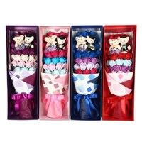 Giáng Sinh nhân tạo Hoa Trang Trí Nội Thất xà phòng Tăng + 1 cặp bears toy với hộp Lãng Mạn Bouquet Valentine Wedding Món Quà Sinh Nhật