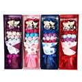 Kunstbloem Kerst Woondecoratie zeep Rose + 1 paar speelgoed bears met doos Romantische Boeket Valentine Verjaardagscadeau