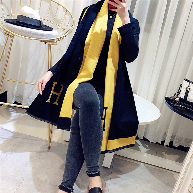 Winter Black and White Cashmere   Scarf   Female Coloured Letter Thicken Fashion Women Shawls and   Wraps   Warm Blanket   Scarves