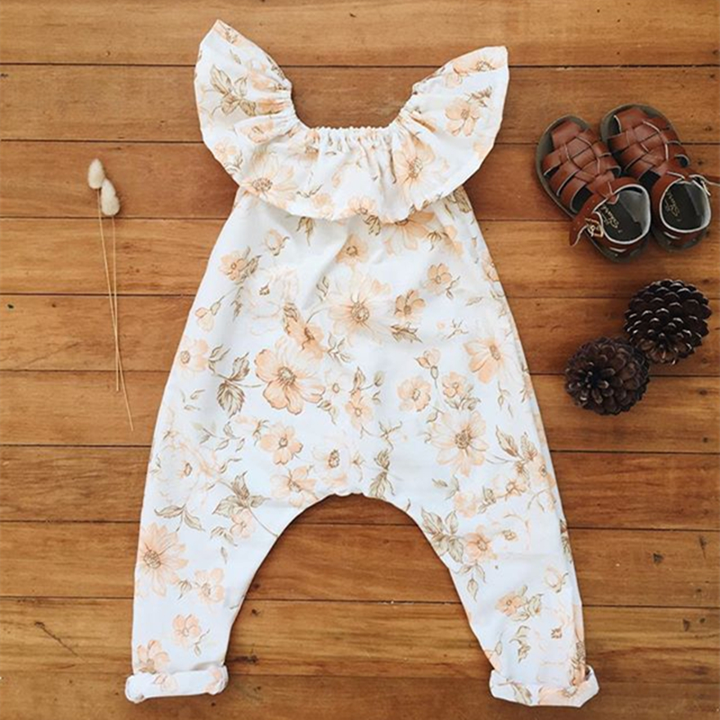 2017 Newborn Peter Pan Collar Romper Floral Print Flutter Sleeve Long Jumpsuits Playsuit Baby Rompers Summer Baby Girl Clothes
