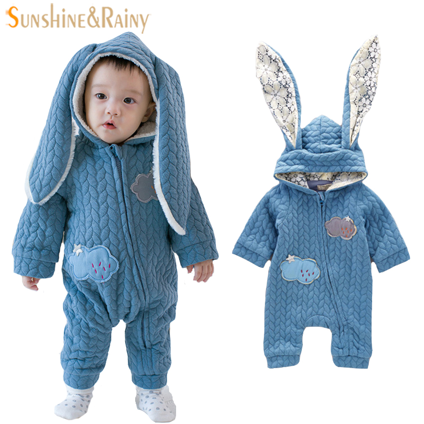 Rabbit Ear Baby Rompers Autumn Thicken Winter Girls Jumpsuit For Boys Knitted Sweater Bebes Baby Costumes Baby Pajamas 3-24M warm thicken baby rompers long sleeve organic cotton autumn