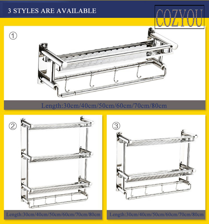 Length 30cm 40cm 50cm 60cm 70cm 80cm Stainless Steel Single Tier Bathroom Shelves font b Rack