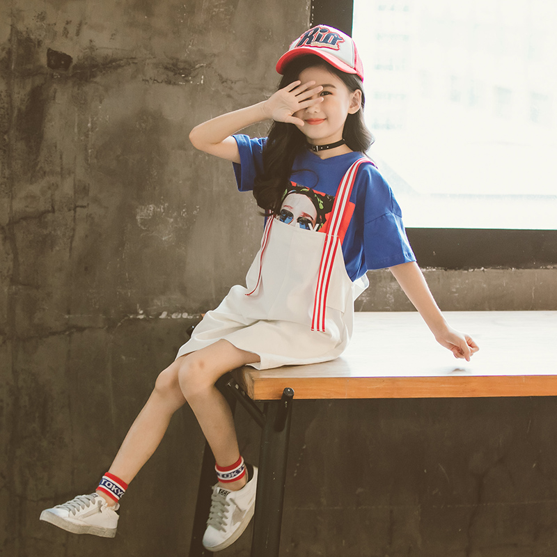2018 Children Clothing Set Trendy Girls Summer Suit Hippie T-shirt+Suspenders Pants Cute Girls Clothing Set 2pcs Festa