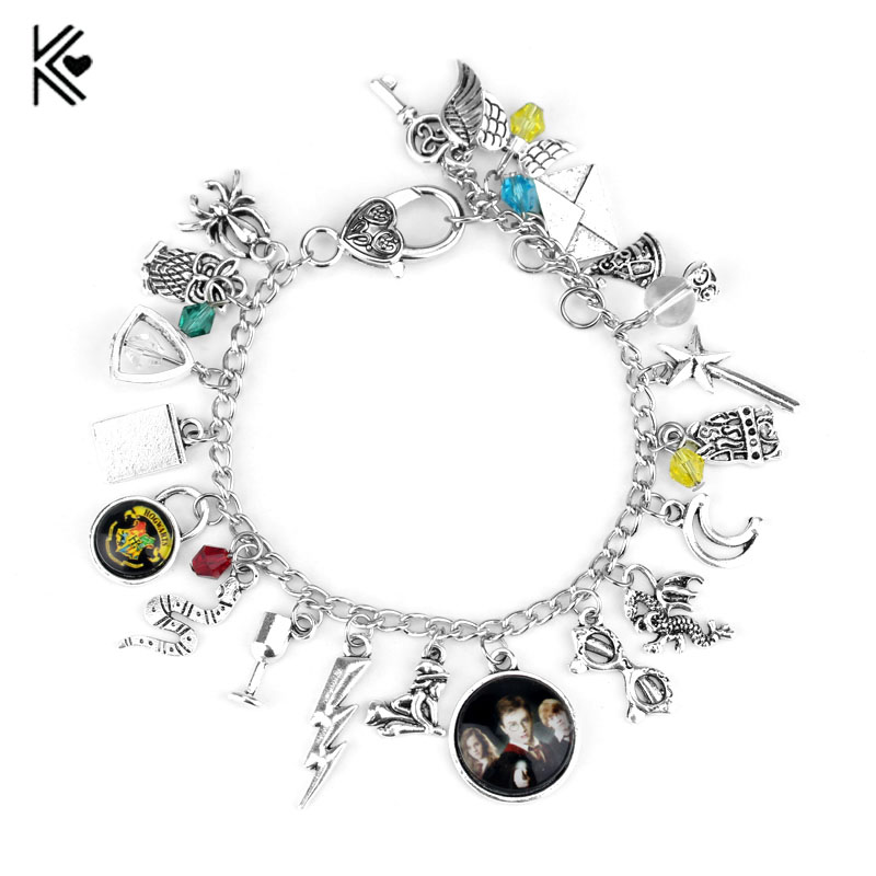 Movie Themed Magic School Charm Bracelet Golden Snitch Silver Tone Multilayer Wrist jewelry Voldemort Deathly Horcrux Jewelry