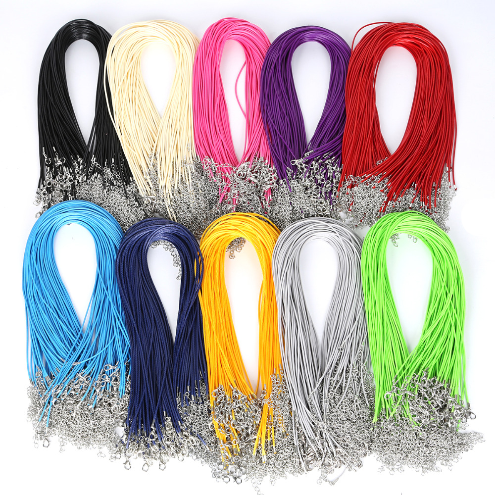 30Pcs/lot Mix Colors 1.5mm DIY Faux Leather Cord Adjustable Chains Pendant Necklace Rope Charms Findings Lobster Clasp String