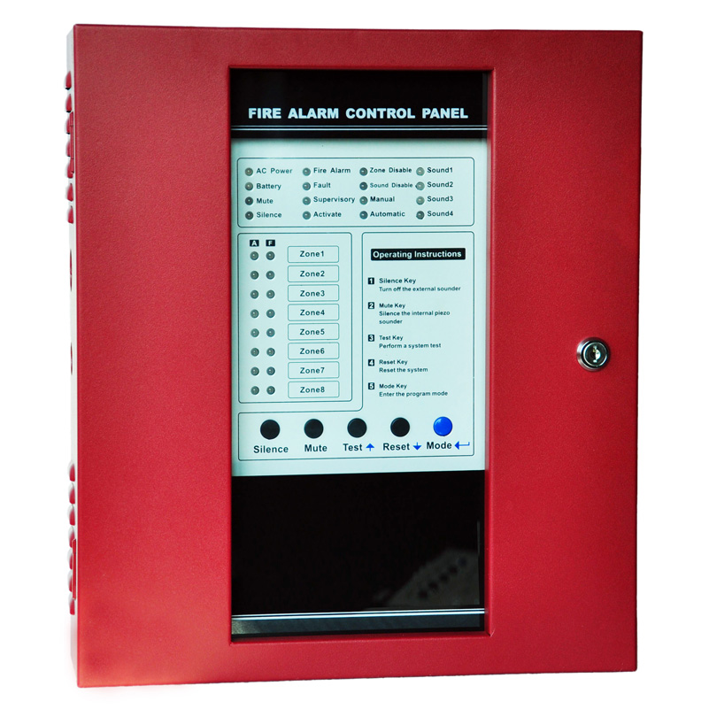 Fire Proof Metal Panel Alarm System Control Panel Fire Fighting Controller FACP With 8 Zones