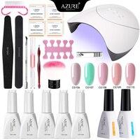 Azure Beauty 8PCS/LOT Nail Kit Nail Gel Polish Soak Off UV/LED Semi Permanent Led Gel Long Lasting Shiny Color Gel
