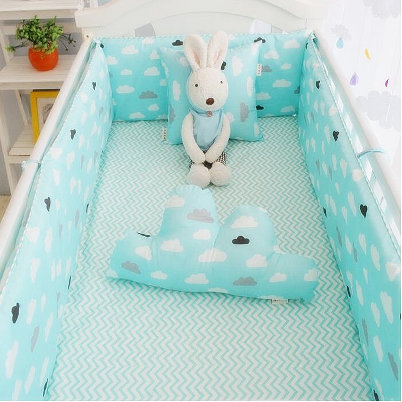 Cloud Decoration Crib Bedding Set For Girls and Boys Kids Cot Set Baby Bedding Bumper Sheet Quilt Mattress tour de lit berceau corn bran baby crib bassinet 14 colors for choosing for 0 6 months little kids cradle cute and fancy for boys or girls hot