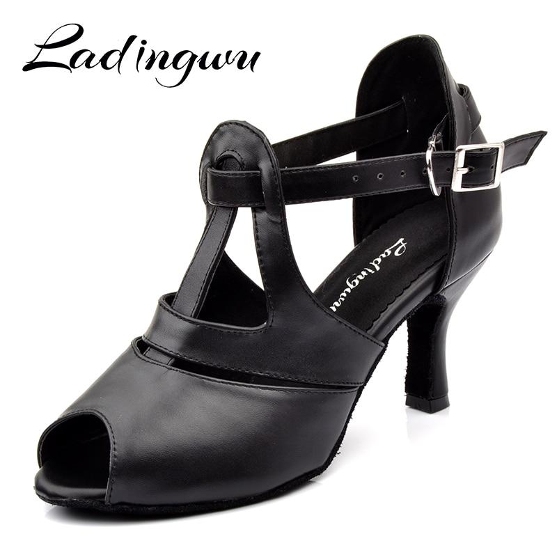 Ladingwu Black Genuine Leather Dance Shoes Woman Latin Comfortable Soft Bottom Salsa Dance Shoes Profession Ballroom Dance Shoes